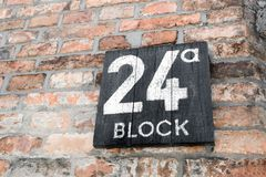 Block 24 in Auschwitz concentration camp. The biggest extermination camp in Europe built by Nazi. Block 24 in Auschwitz where the brothel known as Puff was royalty free stock photography