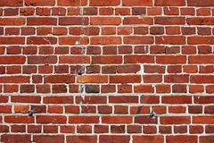 Block background . old brick wall of red bricks. Royalty Free Stock Image