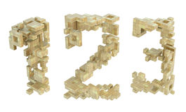 Block Build Numbers. Countdown numbers built out of blocks, 3d abstract, horizontal Stock Images