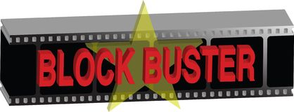Block buster. A piece of film made 3d then block buster film text is placed on top royalty free illustration