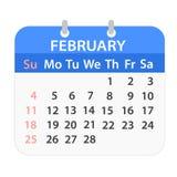 Block calendar on February 2018 on white; stock vector illustrat. Ion, eps 10 vector illustration