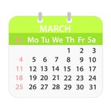 Block calendar on March 2018 on white; stock vector illustration stock illustration