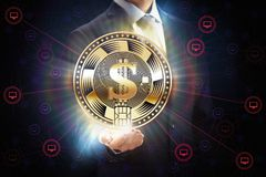 Businessman with block chain bit crypto currency coin business network mining concept design in hand. Block chain bit crypto currency coin business network stock images