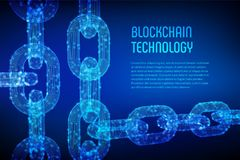 Block chain. Crypto currency. Blockchain concept. 3D wireframe chain with digital blocks. Editable cryptocurrency Royalty Free Stock Images