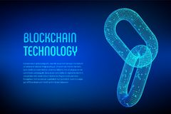 Block chain. Crypto currency. Blockchain concept. 3D wireframe chain with digital code. Link wireframe sign. Internet technology. Editable cryptocurrency Royalty Free Stock Photo