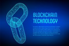 Block chain. Crypto currency. Blockchain concept. 3D wireframe chain with digital code. Link wireframe sign. Internet technology. Editable cryptocurrency Royalty Free Stock Image