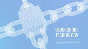 Block chain. Crypto currency. Blockchain concept. 3D wireframe chain and isometric digital block with digital code. Editable vector illustration