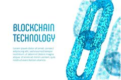 Block chain. Crypto currency. Blockchain concept. 3D wireframe chain with digital blocks. Editable cryptocurrency template. Stock Royalty Free Stock Photography
