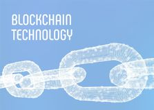 Block chain. Crypto currency. Blockchain concept. 3D wireframe chain with digital blocks. Editable cryptocurrency template. Stock. Vector illustration royalty free stock photos