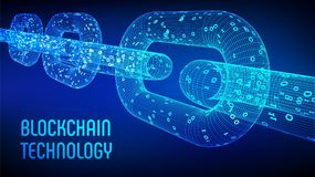 Block chain. Crypto currency. Blockchain concept. 3D wireframe chain with digital code. Editable cryptocurrency template. Stock ve. Block chain. Crypto currency