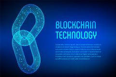Block chain. Crypto currency. Blockchain concept. 3D wireframe chain with digital code. Link wireframe sign. Internet technology. Editable cryptocurrency Stock Images