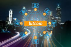 Block chain network, Bitcoin, Digital money. Block chain network , a cryptographically secured chain, Bitcoin, Digital money royalty free stock photos