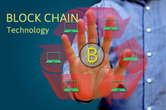 Block chain network concept and bitcoin icons, double exposure o. F hand showing word diagram as concept, distributed ledger technology royalty free stock photos
