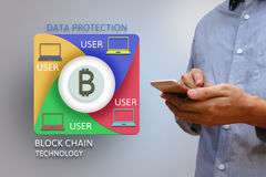 Block chain network concept and bitcoin icons, double exposure o Royalty Free Stock Images