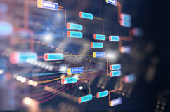 Block chain network concept on technology background Stock Image