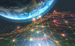 Block chain network and Planet Earth. Artificial intelligence. Global decentralized database stock image