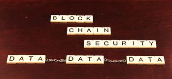 Block chain security spelled out in tiles on a cherry wood background with data chained together underneath. Block chain security spelled out in tiles on three stock image
