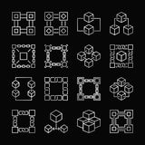 Block chain silver icons. Vector set of blockchain linear signs. Block chain silver icons. Vector set of blockchain concept linear signs on black background Royalty Free Stock Photography