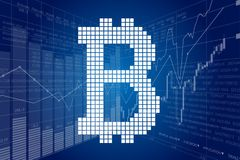 Block Chain and Stock Charts Royalty Free Stock Photo