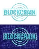 Block chain technology. Blockchain text emblem on white background with mosaic effect and variation with dark blue screen background. Vector illustration Stock Image