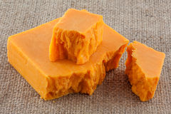 Block cheddar cheese Stock Photo
