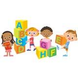 Block and children of the alphabet Stock Photo