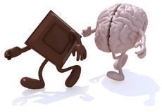Block chocolate chased by human brain. 3d illustration Royalty Free Stock Photos