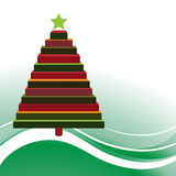 Block christmas tree. Over rolling landscape background Royalty Free Stock Photos