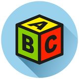Block circle blue flat icon. Illustration of block circle blue flat icon stock illustration