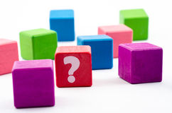 Block and color concept. What or who: Question mark concept on colorful of  block and isolated Stock Images