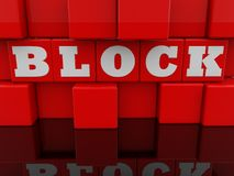 Block concept on abstract wall of red toy cubes. In background stock illustration
