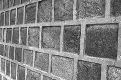 Block concrete wall closeup in view side background Royalty Free Stock Images