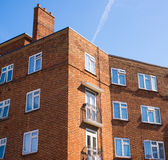 Block of council flats in red bricks Royalty Free Stock Image