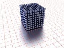 Block of cubes forming square. Three dimensional illustration of small cubes forming large square with red lined background on white; futuristic database concept Stock Photos