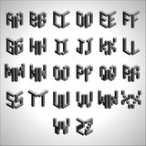 Block Cubic Square Font Set Stock Image