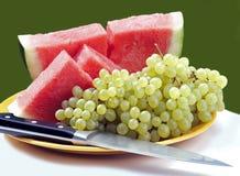 Block der Champagne-Rebe und der roten Wassermelone Stockbild