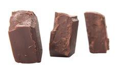 Block der dunkelbraunen Schokolade bessert V aus Stockfotos