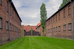 Block der Häuser in Auschwitz Stockfoto