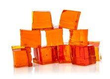 Block der orange Geleewürfel Lizenzfreies Stockfoto