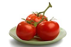 Block der roten Tomaten mit Zweig Lizenzfreies Stockfoto
