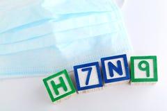 Block des Alphabetes H7N9 mit schützender Gesichtsmaske Lizenzfreies Stockbild
