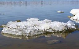Block des Eises auf Fluss Lizenzfreie Stockbilder
