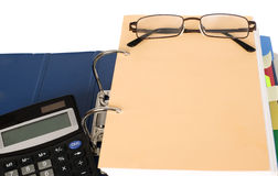 Block of documents with calculator Stock Photo