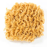A block of dried Instant noodles  on white Stock Images