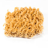 A block of dried Instant noodles  on white Royalty Free Stock Photo