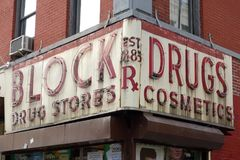 Block Drug Stores Old Sign Stock Images
