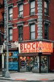 The Block Drug Stores sign, in the East Village, Manhattan, New York City.  stock photos