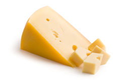 Block of edam cheese. On white background stock photo