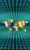 Block för världsöversikt som 3D receding Royaltyfri Bild