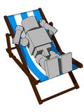 Block Figure On Beach Chair Stock Photo